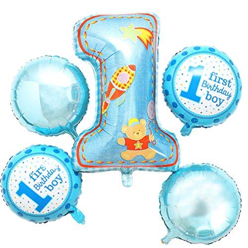 Anqeeso Folie Mylar Nummer 1Luftballons für Geburtstag, Prince Princess Crown Luftballons für Baby Dusche Hochzeit Dekorationen, Blau, Numbers 1