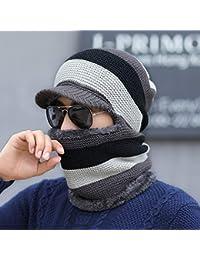 LybHat Gorra para Hombre Invierno Engrosamiento más Terciopelo cálido Gorros  de Invierno Orejeras de Punto Lana Joven Sombrero… 87262ad8d79