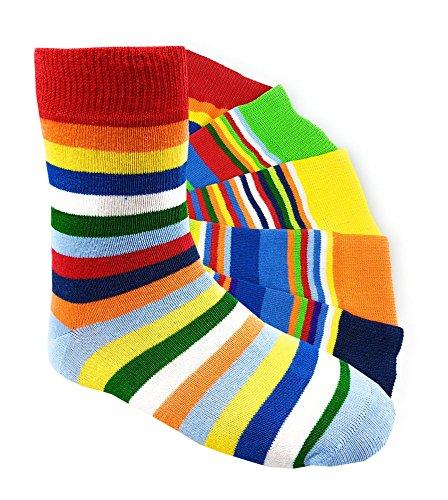 Kinder Socken handgekettelt Spitze ohne Naht 6 Paar aus besonders weicher Baumwolle bunter Mix Gr. 19-42 (27-30, Ringel)
