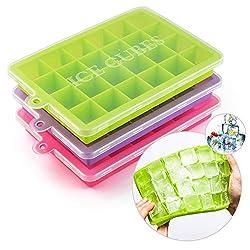 Heatigo 2 mit Abdeckschale, 24 Fächer Form mit Deckel, BPA-frei, Eiswürfel für Familie, Party und Bar [3 Stück] Bambus
