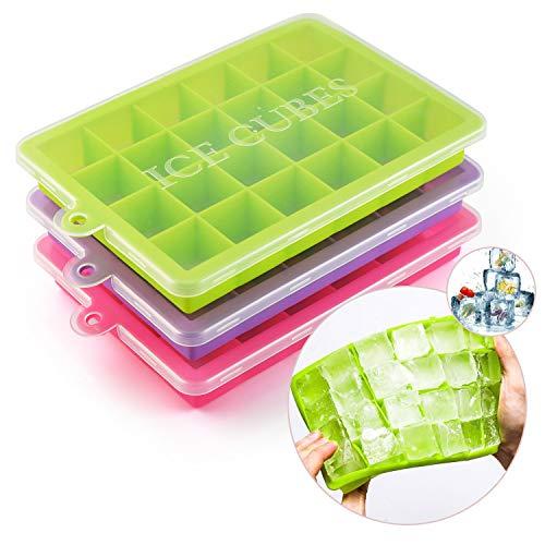 Heatigo Silikon Eiswürfelform Mit Deckel Ice Cube Tray, 3 X 24-Fach Eiswuerfel Form Mit Deckel & Clip Ice Tray Ice Cube, BPA-frei, Eiskugelform Eiswürfelschale Eismaschine Gekühlte Getränke [3 Stück]