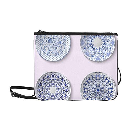 EIJODNL Chinesische Porzellan Malerei Stil Porzellanplatte Muster Benutzerdefinierte hochwertige Nylon Schlanke Handtasche Umhängetasche Umhängetasche