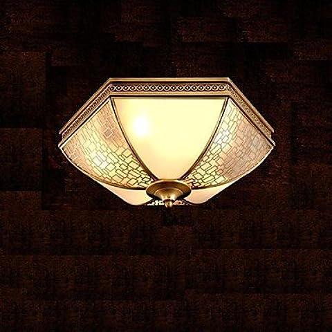 artes claras Lámpara de techo de latón, dos luces, Vintage Cobre Total Glass (C140187)