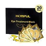 20 Pairs Eye Mask Collagen,Augenpads, Eye Pads,24K Kollagen Golden Eye pad Augenpads,Kollagen & Anti-Aging-Hyaluronsäure unter den Augenpads Augenmaske Entfernen Augenringe, Schwellungen und Falten