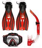 Ensemble de snorkelling en PVC avec masque, tuba et palmes F52, femme Homme, rouge/noir, S / M (UK4.5 - UK8.5)