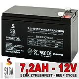 SIGA Blei Akku 7,2AH 12V GEL Batterie Bleigel ersetzt 7Ah 7,5Ah 12V/7,2Ah