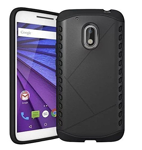 Febelo Branded Dual Layer (TPU + Armor PC) Shockproof Protection Back Cover Case For Moto G Plus 4th generation - Black Color
