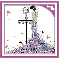 CaptainCrafts Hot New Releases Cross Stitch Kits Patterns Embroidery Kit - Madame Butterfly (WHITE)