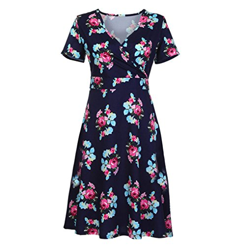 Xmiral Women Deep V Neck Knee-Length Cross Wrap Casual Flared Print Polyester Midi Dress