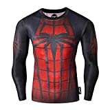 Fringoo Mens Compression Superhero Top Base Layer Gym Long Sleeve Running Thermal Sweatshirt Workout T-Shirt Spider Superman Bat