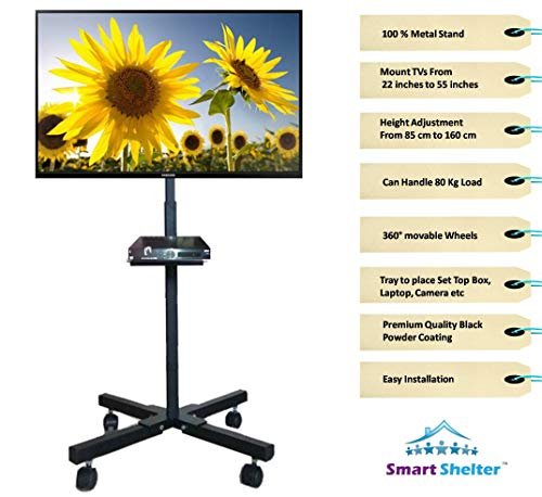 Smart Shelter Foldable Height Adjustable Pedestal Mobile TV Trolley/Stand/Mount (100% Made of Metal)