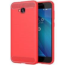 """Asus ZenFone 4 Selfie ZD553KL Funda, Carcasa Caso Cubierta de Protección de TPU Silicona con Textura de Fibra de Carbono para Asus ZenFone 4 Selfie ZD553KL 5.5"""" Smartphone, Rojo"""