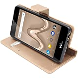 ebestStar - Coque Wiko Tommy 2 Etui PU Cuir Housse Portefeuille Porte-Cartes Support Stand, Or/Doré [Appareil: 145 x 72.7 x 9.19mm, 5.0'']