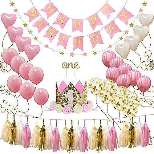 KOBWA bébé Premier Anniversaire Bannière Ballons Rose et Doré Décorations d'anniversaire pour...