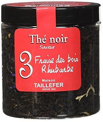 Maison Taillefer Thé Noir Fraise des Bois Rhubarbe Pot 60 g - Lot de 4