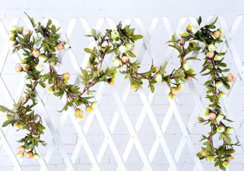Rose Garland FUJIE 2 Stück Gefälschte Rosen Rebe Blumen Anlagen Dekorative Kunst Blume Künstliche Rose Vine mit grünen Blättern Künstliche Blumen für Hochzeiten Décor (Weißer Champagner)