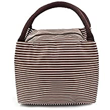 Borsa di pranzo isolato, DancerRun borsa di tela di picnic Borsa di tela impermeabile Contenitori di isolamento Borsa di alluminio di spessore con cerniera per uomini Donne e bambini