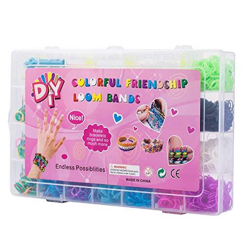 Yi RAN 4200 Teile XL Loom Bänder Kit Loom Armbänder Set Gummibänder mit 10Charms Anhänger Webrahmen 4Haken 96S-Clips Aufbewahrungskoffer