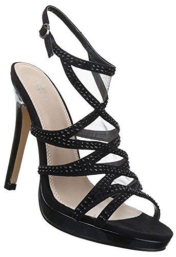 Damen Sandaletten Schuhe High Heels Strass Stilettos Pumps Schwarz beige 36 37 38 39 40 41 Schwarz