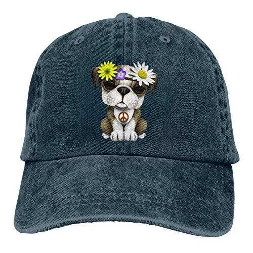 Hoklcvd Britische Bulldogge Welpe Unisex gewaschen einstellbare Vintage Cowboyhut Denim Baseball Caps Multicolor40 (Duke Klassische Kostüme)