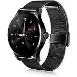 Rubility®K88H Bluetooth 4.0 Smart Watch Acero Inoxidable Smart Band Watch --- Negro (Seguimiento Salud / Monitor Ritmo Cardíaco / Podómetro / Recordatorio sedentario / Monitor Sueño / Mando a distancia, etc.)