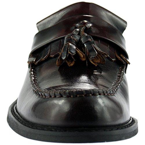 Roamers Hommes Toggle Selle Mocassins Cuir Véritable Gland chic décontracté MOD Chaussures Rouge Foncé