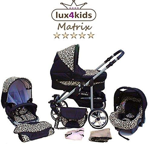 Chilly Kids Matrix II Kinderwagen Winter-Set (Winterfußsack, Autositz, Regenschutz, Moskitonetz, Schwenkräder) 39 Schwarz & Leo