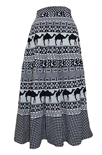 MRV Fashion's Printed Cotton Multi Color Wrap Around Long Skirt (Assorted Colour & Assorted Design Black & White)  available at amazon for Rs.309