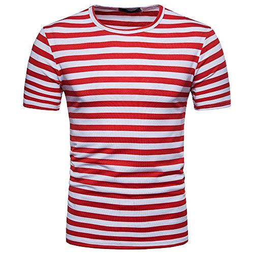 TTLOVE Herren Sommer Casual Streifen Rundhals Pullover T-Shirt Top Bluse Kurzarm Shirt Mit Und Rundhalsausschnitt Mode MäNner Trend Gestreiftes KurzäRmliges Oberteil (Rot,XL)