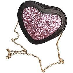 Tinksky Bolso de cuero de la PU de la forma del corazón lindo bolso hombro bolsa de noche bolso de Crossbody bolsos regalo de cumpleaños de Navidad para las mujeres (rosa)