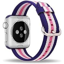 Apple Watch Correa 38mm, ZRO Premium Nylon Tejida Reemplazo de reloj Inteligente Banda de reloj con ajustable Hebilla para la nueva Apple iWatch Series 2/ Series 1