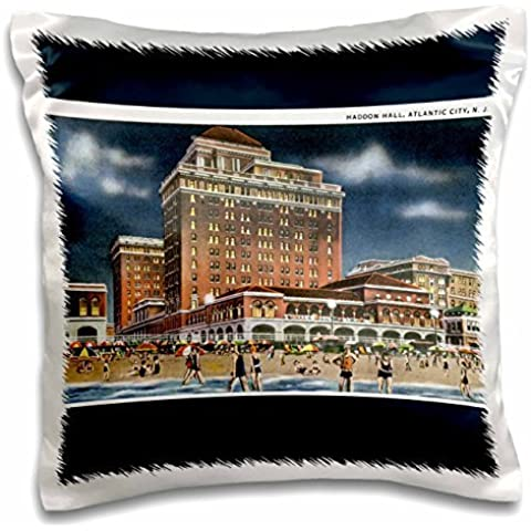 BLN Vintage US Cities and States Postcards - Haddon Hall, Atlantic City, New Jersey Beach Scene - 16x16 inch Pillow Case - Atlantic Jersey