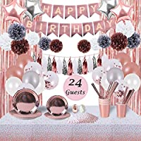 Rose Gold Birthday Party Decorations and Tableware Set | Serves 24 Guests | Party Supplies for Women | Plates, Napkins, Cups Straws, Table Cloth, Birthday Banner, Foil Curtains and more – RSA Products