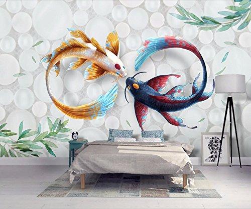 Benutzerdefinierte Größe Tapete handgemalt moderne stilvolle Aquarell Koi Fisch Fresco TV Couch Hintergrund Wandbilder 3D Wallpaper 350x245cm