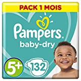 Pampers - Baby Dry - Couches Taille 5+ (12-17 kg) - Pack 1 Mois (x132 couches)