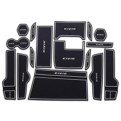 Preisvergleich Produktbild LFOTPP Tor Slot Pad Cup Matten Dekoration Teile Für Honda Civic 2016-2017 Auto Styling Gummi Matte Rutschfeste Matten Innentür (Weiß)