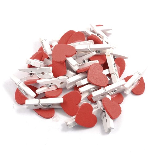 sourcingmapr-50-pcs-red-heart-accent-white-wooden-spring-clothespins-memo-clips