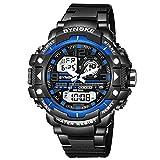WMWMY Herren Sport Uhr Dual Monitor Analog Digital LED-Elektronischen Uhr Quarzuhr, Blau
