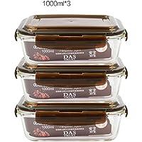 Recipientes de almacenamiento almuerzo cristal caja de comida paquete de 3 unidades microonda caja del horno
