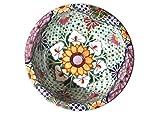rundes Keramik Waschbecken, Motiv: Flores Talavera, handbemalt als Gästewaschbecken, Handwaschbecken, Gäste WC, Badezimmer. 43 cm Durchmesser