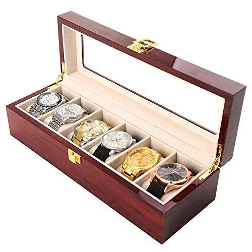 DKZK DKZK Uhrenbox - Hölzernes Uhrengehäuse 6-Fach Geschenkbox aus Holz Aufbewahrungsboxen mit Glasplatte und abnehmbaren Aufbewahrungskissen Uhrenbox für Herren