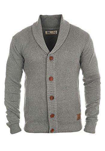 !Solid Torrin Herren Strickjacke Cardigan Feinstrick mit Schalkragen und Knopfleiste, Größe:L, Farbe:Grey Melange (8236)