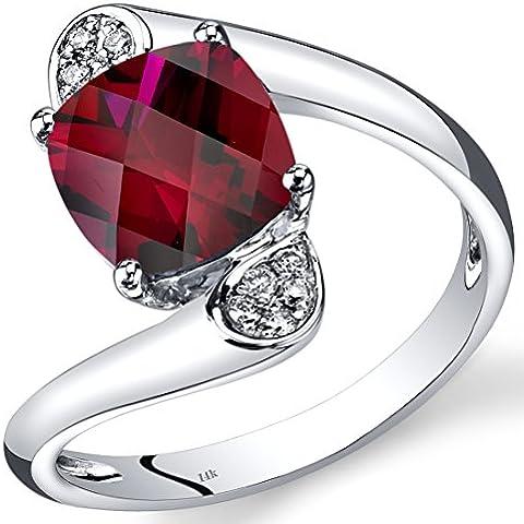 Revoni-Collana in oro bianco 14 kt con rubini e diamanti a taglio Bypass-Cuscino 2,83 ct - Taglio Cuscino Diamante