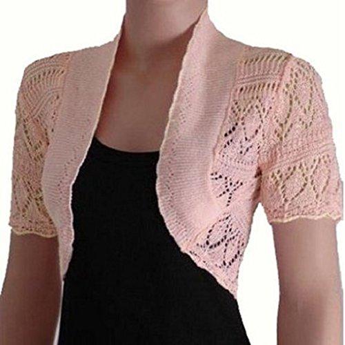Frauen-Damen Crochet Strick Shrug Cardigan Bolero Pullover (Crochet Knit Shrug) (Knit Cardigan Crochet)