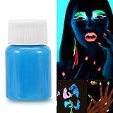 Salmue Vernice Fluorescente Colorato, Halloween Fluorescent Face Paint UV Glow Body Paint Pigment Luminoso Glow-in-The-Dark Trucco di Colore per Costumi Party Stage Festival Teatrale (Blu)