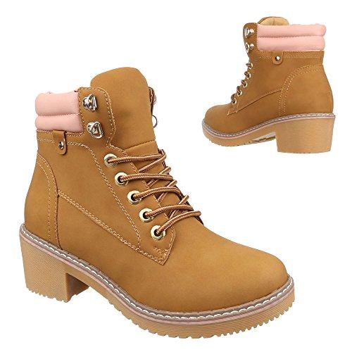(Ital-Design Schnürboots Damen-Schuhe Combat Boots Blockabsatz Schnürer Schnürsenkel Stiefeletten Camel, Gr 40, 80-61-)