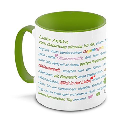 Tasse zum Geburtstag mit Namen Annika und vielen Glückwünschen , grün / weiss