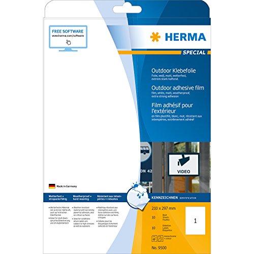 Herma-9500-Outdoor-Folienetiketten-wetterfest-auf-A4-Bogen-Format-210-x-297-mm-extrem-stark-haftend-10-Stck-wei