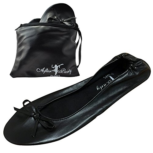 After Party Pumps® Back to Black Size UK 5-6 Ladies Roll Up Shoes Fold Up Pumps Foldable with Carrier Pouch
