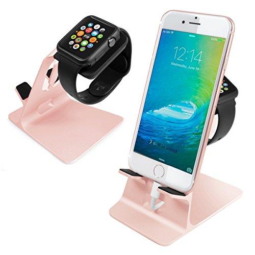 Orzly® - DuoStand Charge Station for Apple Watch & iPhone - Desk Stand Cradle (Soporte de Aluminio) en ROSE GOLD con Espacios de Inserción para ambos Grommet Cargador y Lightning Cable para su uso como un completo y funcional Base de Carga (Charging Dock) para su Apple Watch y el iPhone simultáneamente - Para iPhone Modelos: 5 / 5S / 5C / 6 /6 PLUS y ambos 42mm y 38mm tamaños de 2015 AppleWatch (Original BASIC Modelo / SPORT Model / EDITION Versión)